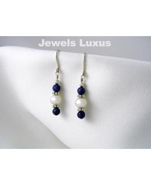 Lapis + Pearl Earrings