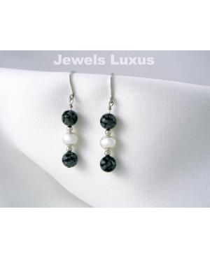 Obsidian + Pearl Earrings