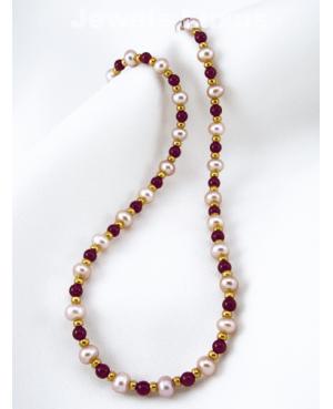 Garnet Pearl Necklace