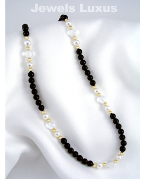 Onyx + Pearl Necklace