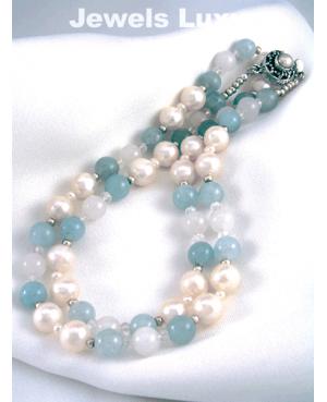 Pearl Aquamarine Necklace