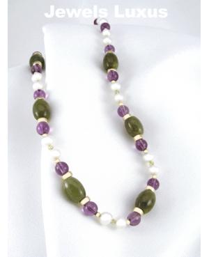 Amethyst + Jade Necklace