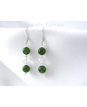 Jade + Silver Earrings