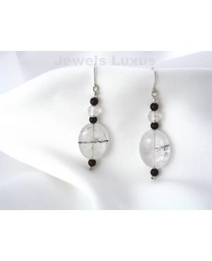 Quartz + Onyx Earrings